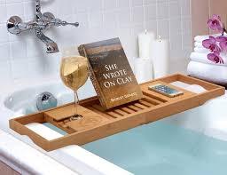 teak bathtub caddy for book