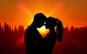Sunset Boy and Girl Silhouette romantic ...