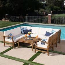 wood outdoor sectional. Wonderful Sectional Perla Teak 9Piece Wood Outdoor Sectional  To V