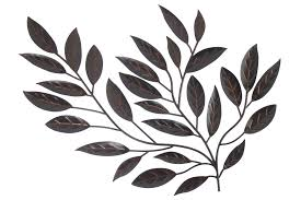 Black Iron Wall Decor Forged Metal Leaves Floral Metal Wall Art