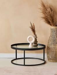 kyoto glass metal round coffee table