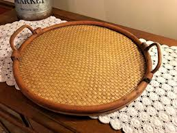 vintage wicker bamboo rattan tiki serving tray handles wood sy round 16 1 of 7 see more