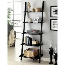 ... Bookshelf, Inspiring Ikea Leaning Shelf Narrow Bookcase Black Leaning  Shelf With Rattan Box And Books ...