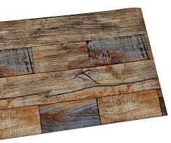 Haokhome 3d Vintage Faux Houten Plank Pvc Behang Tanbruinblauwe