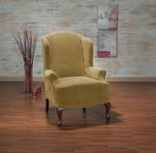hanover camel wing chair slipcover yellow chair gold furniture trendy home decor