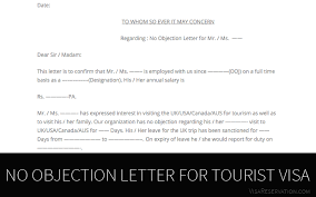 Noc Sample Letter From Employer Simple Ultimate Guide To No Objection Letter For Tourist Visa Visa