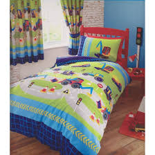 Childrens boys girls double bed duvet set new diggers bedding ... & Childrens boys girls double bed duvet set new diggers bedding quilt cover  set navy blue green Adamdwight.com
