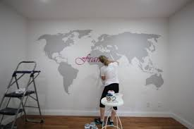 projector wall paintWorld Map Subway Art  Sawdust Girl