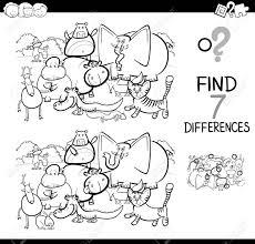 黒と白の漫画イラストの塗り絵動物文字グループに子供用の教育活動ゲームは写真の違いを検索