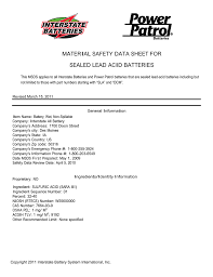 Material Safety Data Sheet For Sealed Lead Acid Batteries