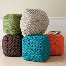 Square Poufs ... good foot rests or casual seating. I love this chunky
