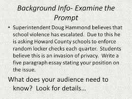 paragraph essay blueprint introduction hook background claim  background info examine the prompt superintendent doug hammond believes that school violence has escalated