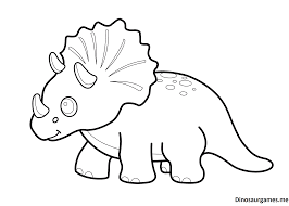 Funny Dinosaur Triceratops Cartoon Coloring Pages For Kids