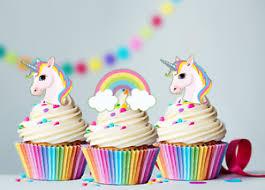 30 X Mini Unicorn Rainbows Edible Cupcake Cake Toppers Fairy