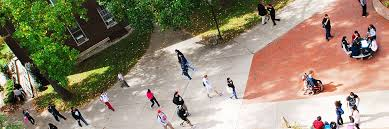overhead shot of students walking at club hour outside gleeson and ward halls