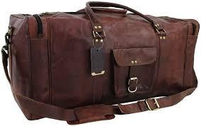 vintage leather brown duffel travel