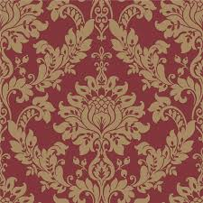 43 red and gold damask wallpaper on
