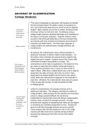 Classification Essay Thesis Statement Example Of Writing Topics
