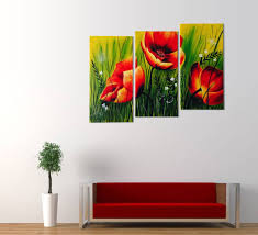 red poppies fl acrylic painting 3 piece wall art with latest 3 piece abstract wall art