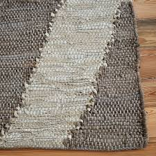 woven recycled leather rug west elm