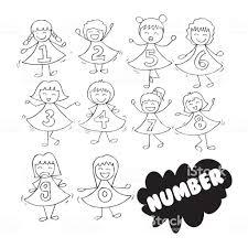番号付きの服とかわいい女の子 1人のベクターアート素材や画像を多数ご