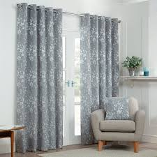 blossom silver grey fl lined eyelet curtains pair