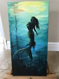 Dark To Light Acrylic Painting Into The Light Mermaid Art Watercolor Art Painting