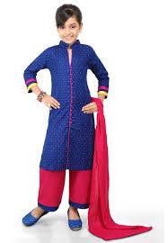 Pakistani Kids Salwar Kameez Designs Plain Cotton Jacquard Pakistani Suit In Blue Kids Frocks