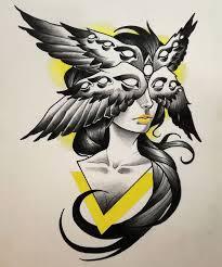 #<b>woman</b> #<b>wings</b> #eyes #yallow #triangle #strange #<b>surreal</b> #tattoo ...