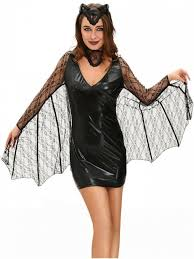 bat cosplay suit long sleeve faux leather dress costume black m