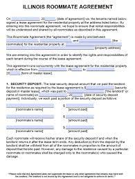 Sample Lease Agreement Word Free Illinois Roommate Agreement Form Pdf Word