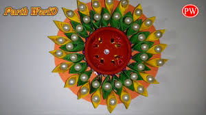 happy diwali homemade diya candle stand with paper and cd dvd
