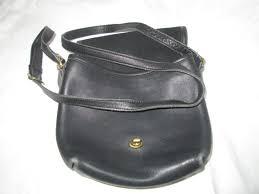 vintage coach black leather bag brass trim coach tag great condition
