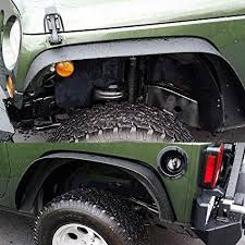 turbosii flat style front and rear fender flares kits for 2007 2018 jeep jku rubicon