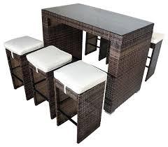 7 piece glass bar height dining set
