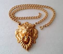 napier gold plated lion head door knocker pendant necklace