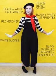 this diy mime costume is super simple and uses items you probably already have in your