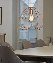 wire cage pendant with visable lamp copper or brass finish
