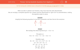 full size of quadratic equations from algebraic fractions worksheet edplace with answers 15385 solving pdf