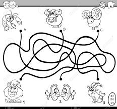 幼児の塗り絵の教育パスまたは迷路パズル活動タスクの黒と白の漫画イラスト