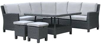 outdoor wicker grey modular lounge setting with low dining table ottomans sets