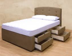 Simple Bedroom Furniture Design Contemporary Brown Leather Master Bed Frame With Storage Plus