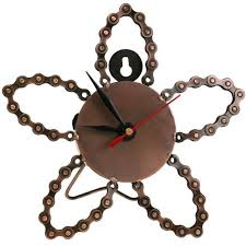 bike chain clock flower shape