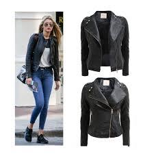 details about new las biker jacket crop pvc faux leather pu gold zip stud coat size 8 16