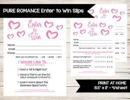 Pure Romance Enter To Win Door Prize Drawing Slip Raffle Ticket Guest Survey Contest Form Direct Sales