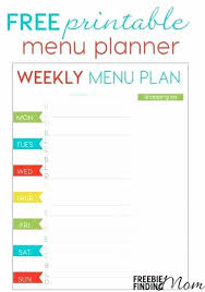 Free Weekly Menu Planner Printable Template Meal – Theuglysweater.co