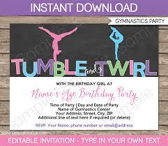 gymnastics party invitations printa vintage diy birthday invitations templates