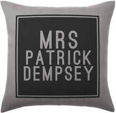 Stocking Fillers Patrick Dempsey Cushion Pillow - Silver Grey 100% Cotton -  Available with or without filling pad - 40x40cm (Cover only): Amazon.co.uk:  Kitchen & Home