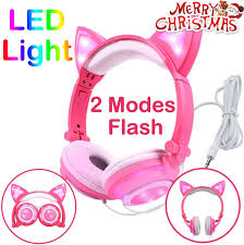 Light Pink Earphones Kids Headphones Glowing Cat Earphones Over On Ear With Led Usb Rechargeable Wired Foldable Game Headset For Girls Boys Toddlers Phone Pc Learning