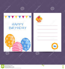 birthday postcard template happy birthday postcard vector illustration stock vector